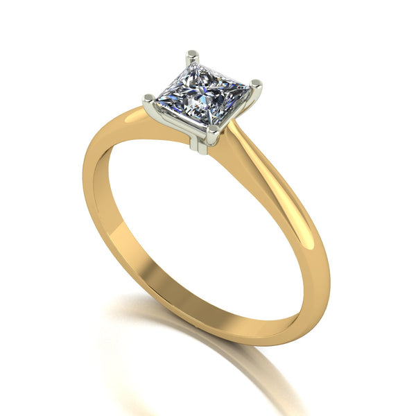 0.60ct (1x 4.5mm) Square Moissanite Set Single Stone Ring