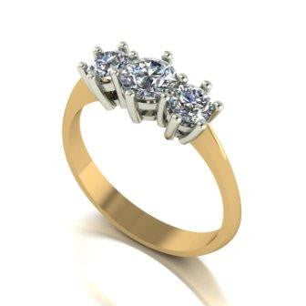 1.00ct (1x 5.0mm & 2x 4.0mm) Round Moissanite Set Three Stone Ring