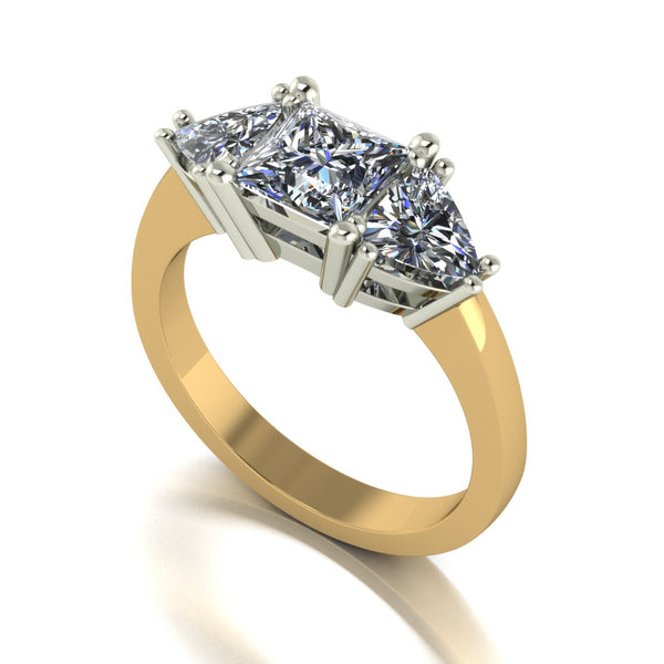 1.90ct (1x 5.5mm Sqr & 2x 5.0mm Trill) Square & Trillion Moissanite Set Three Stone Ring