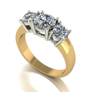 2.00ct (1x 6.5mm & 2x 5.0mm) Round Moissanite Set Three Stone Ring