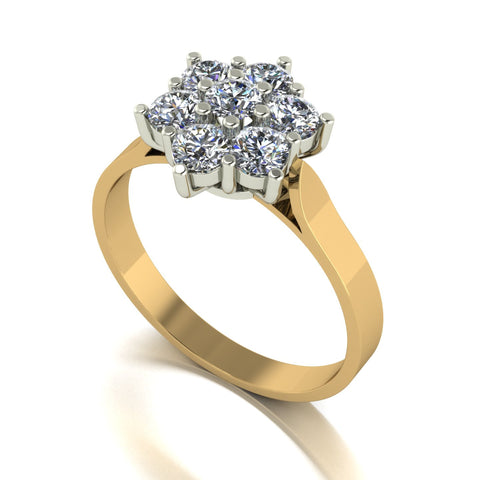 1.00ct (7x 3.25mm) Round Moissanite Set Cluster Ring