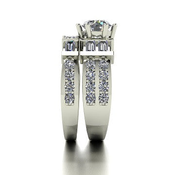 2.50ct (1x 6.5mm & 24x 1.8 & 2x 3.0mm Rnd & 6x 4x2mm Bag) Round & Baguette Moissanite Bridal Set