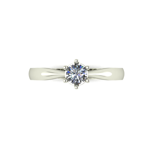 0.25ct (1x 4.0mm) Round Moissanite Set Single Stone Ring