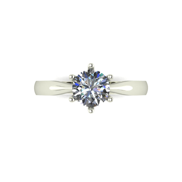 0.75ct (1x 6.0mm) Round Moissanite Set Single Stone Ring