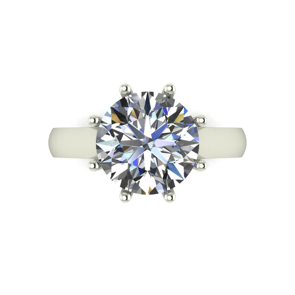 4.00ct (1x 10.0mm) Round Moissanite Set Single Stone Ring