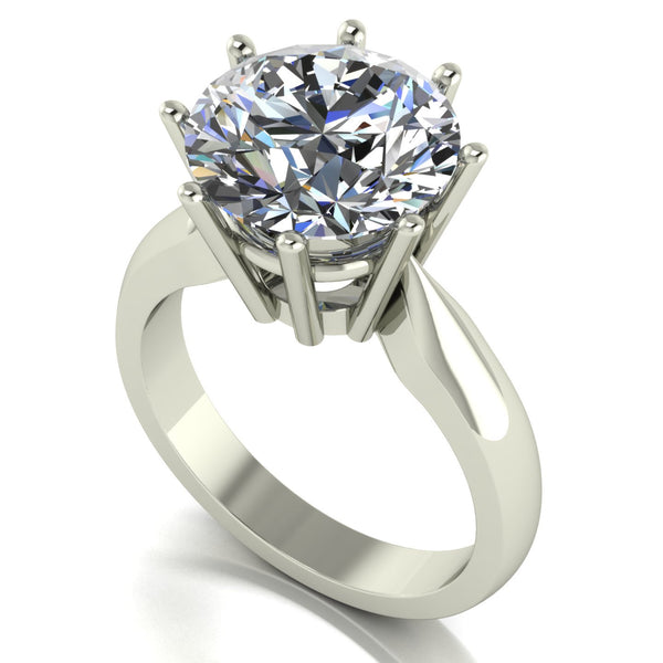 5.00ct (1x 11.0mm) Round Moissanite Set Single Stone Ring
