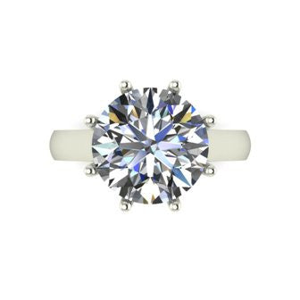 6.00ct (1x 11.5mm) Round Moissanite Set Single Stone Ring