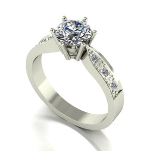 1.15ct (1x 6.5mm & 6x 1.6mm) Round Moissanite Set Shoulders Single Stone Ring