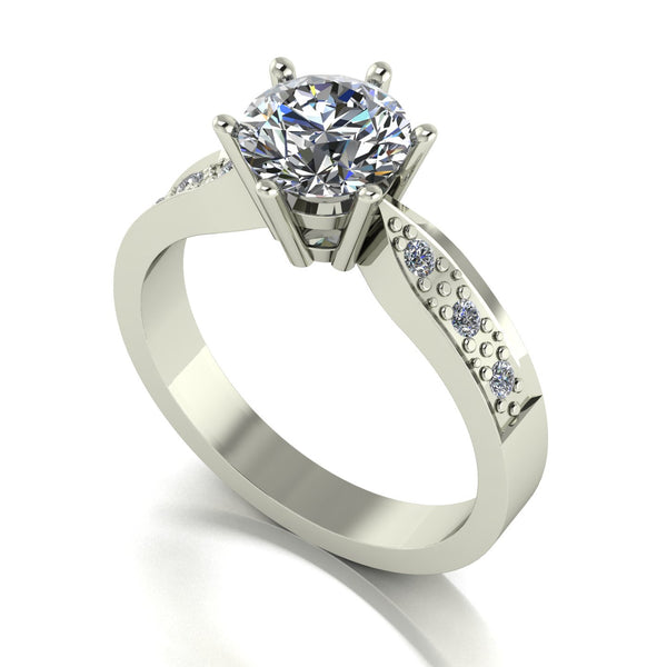 1.40ct (1x 7.0mm & 6x 1.6mm) Round Moissanite Set Shoulders Single Stone Ring