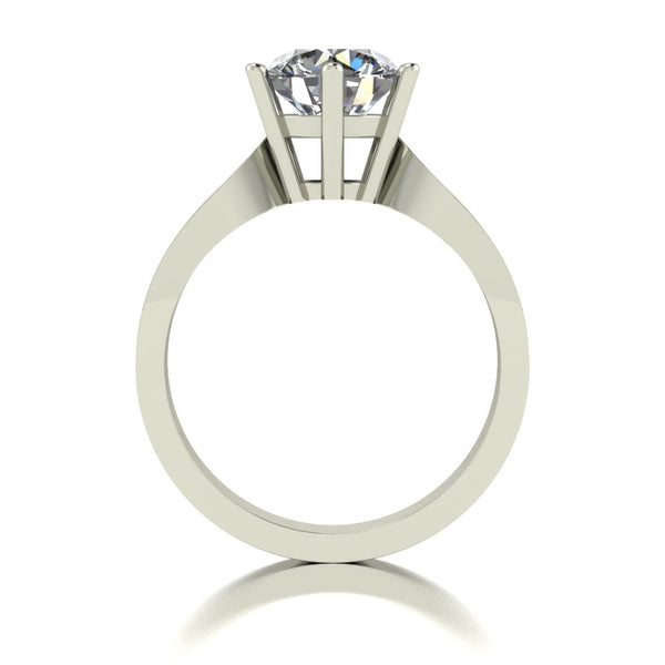 2.15ct (1x 8.0mm & 6x 1.6mm) Round Moissanite Set Shoulders Single Stone Ring