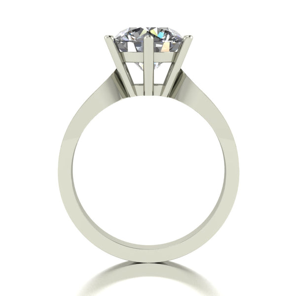 3.15ct (1x 9.0mm & 6x 1.6mm) Round Moissanite Set Shoulders Single Stone Ring