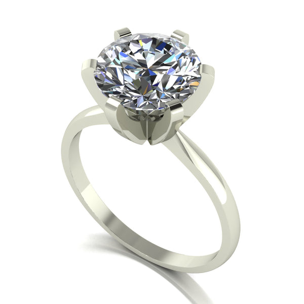 3.00ct (1x 9.0mm) Round Moissanite Set Single Stone Ring