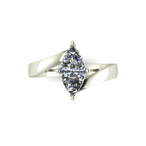 1.04ct (1x 10x5mm) Marquise Moissanite Set Single Stone Ring