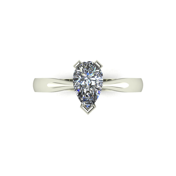 0.95ct (1x 8x5mm) Pear Moissanite Set Single Stone Ring