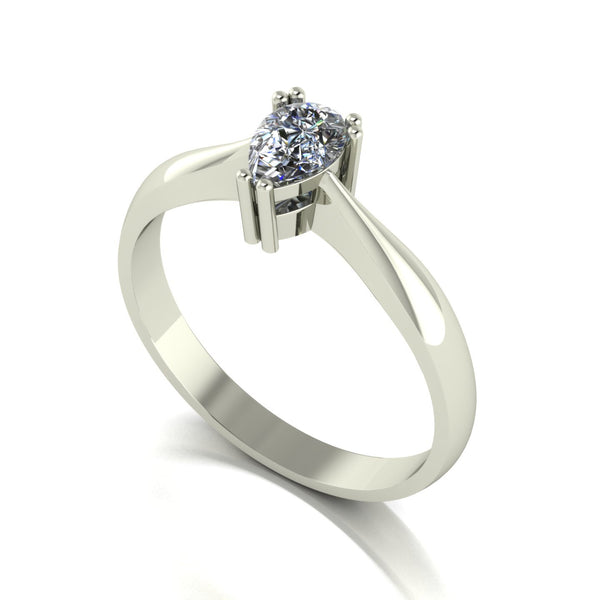 0.45ct (1x 6.0x4.0mm) Pear Moissanite Set Single Stone Ring