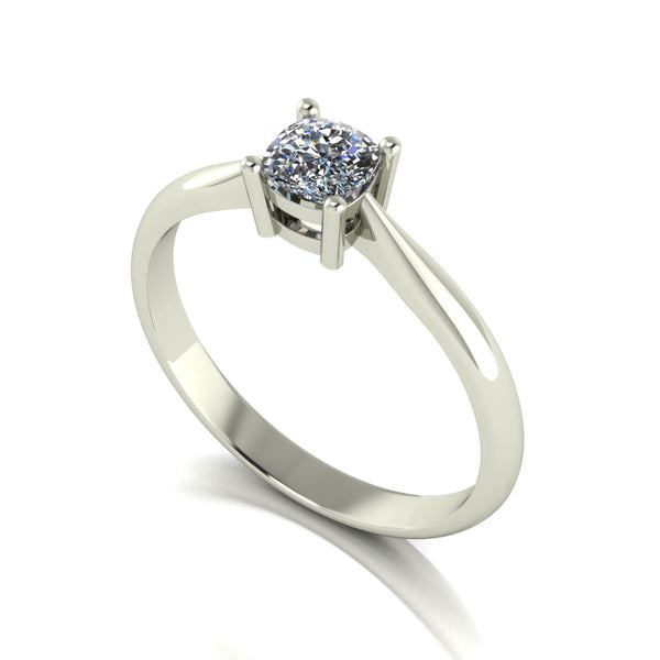 0.50ct (1x 4.5mm) Cushion Moissanite Set Single Stone Ring