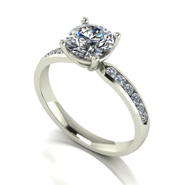 1.50ct 1x 7.0 & 10x 1.6mm Round Moissanite Set Shoulder Single Stone Ring