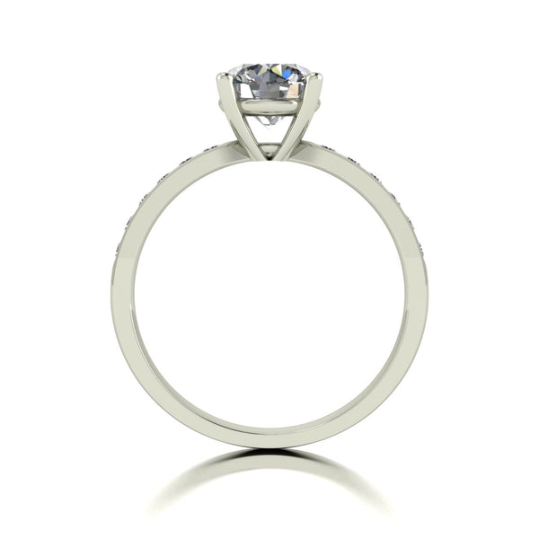1.50ct 1x 7.0 & 12x 1.6mm Round Moissanite Set Shoulder Single Stone Ring