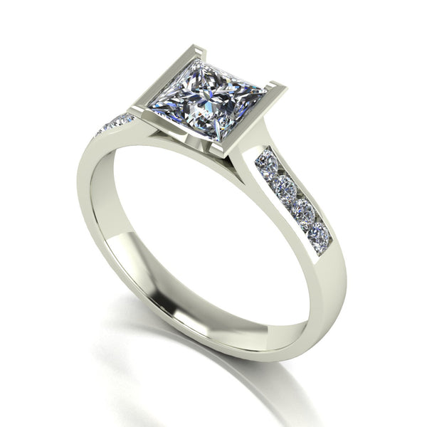1.17ct (1x 5.5mm Sqr & 8x 1.6mm Rnd) Square & Round Moissanite Set Shoulder Single Stone Ring