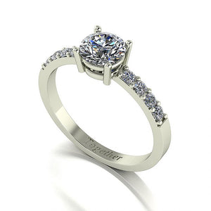 1.00ct (1x 6.0mm & 8x 1.9mm) Round Moissanite Set Shoulder Single Stone Ring