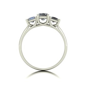 1.00ct (1x 5.0mm 2x 3.0mm) Square Moissanite Set Three Stone Ring