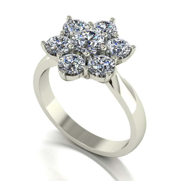 2.00ct (1x 5.0mm & 6x 4.0mm) Round Moissanite Set Cluster Ring