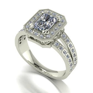 1.70ct (1x 7x5mm Rad & 44x 1.2mm Rnd) Radiant & Round Moissanite Set Cluster Ring