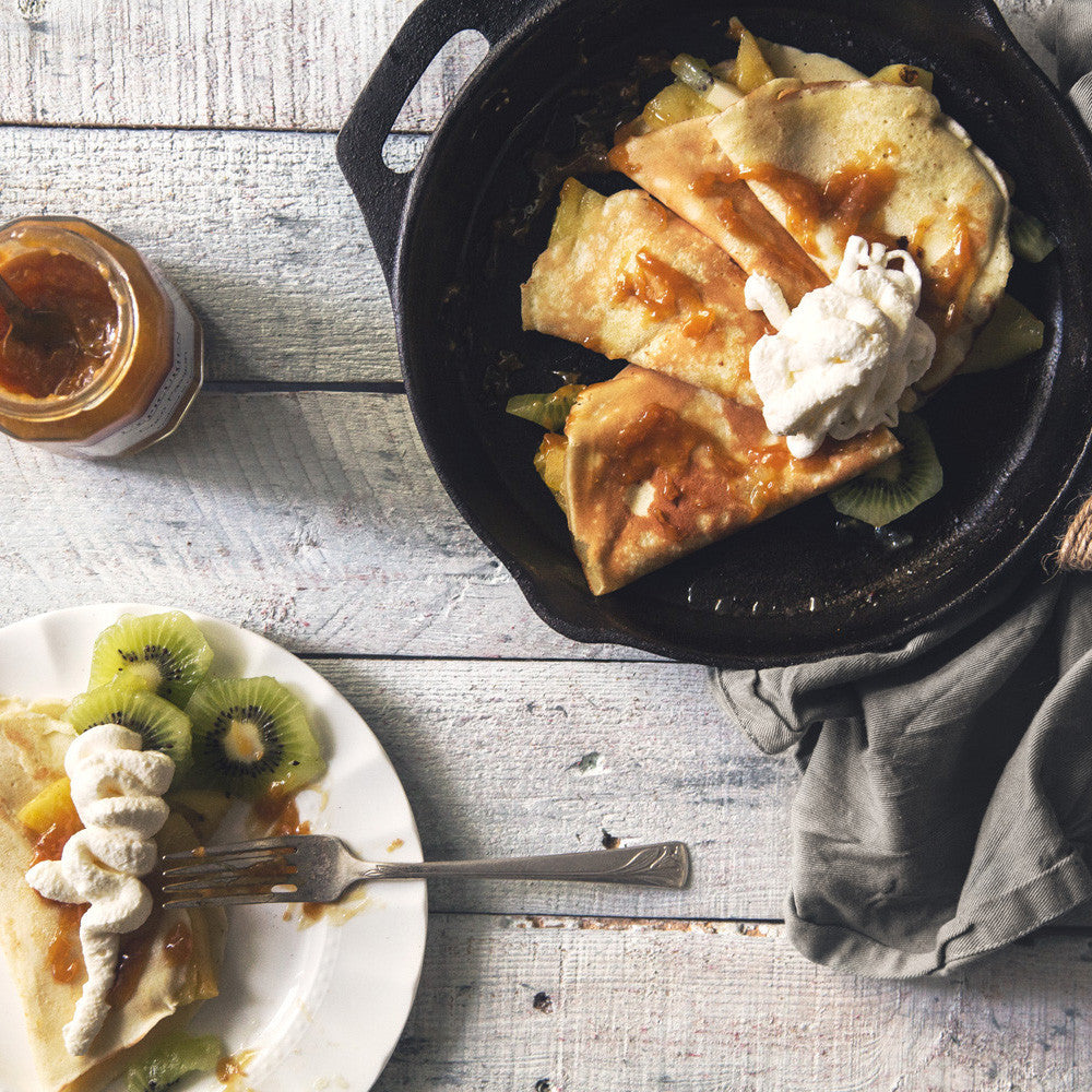 Bergamot Crepes with Tropical Whipped Cream and Fruit