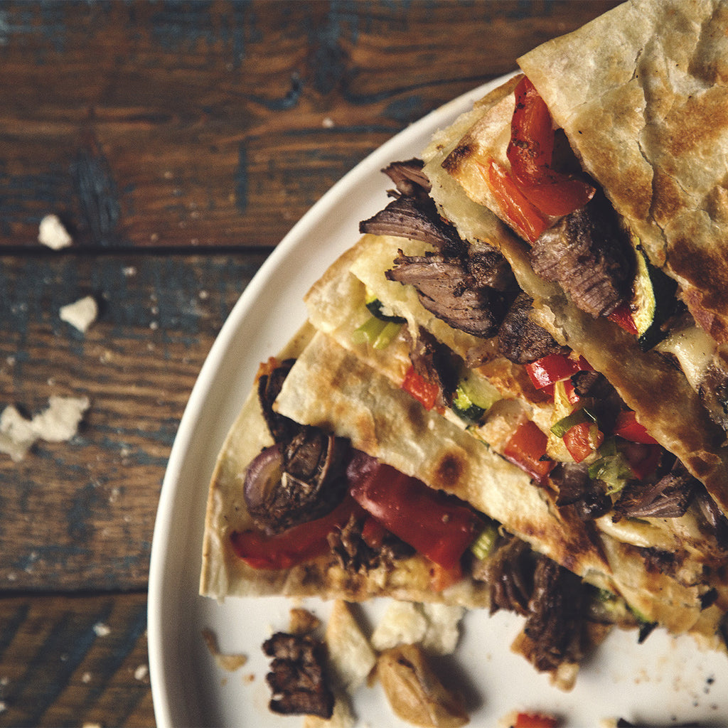 Beef Carnitas and Roasted Veg Quesadillas
