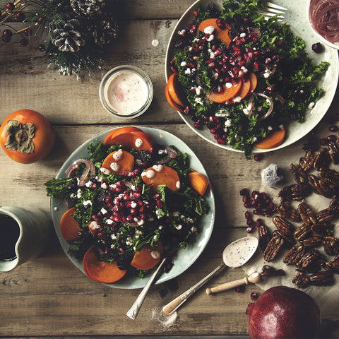 Kale Persimmon Winter Salad