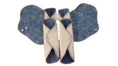Set of Six Wrap Pantyliners - Grab Bag Denim Blues - Ready to Ship-Mom and Me Creations