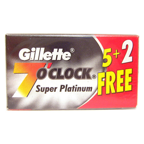 Gillette 7 O'Clock Super Platinum Razor Blades (Black)  - Pack of 7