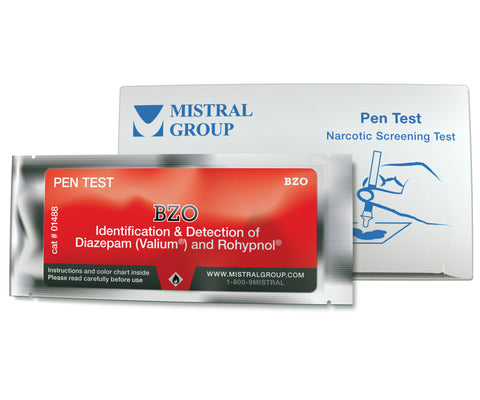BZO. The Benzodiazepine Identification Pen Test from Mistral is an individual ampoule-based, hand-held colorimetric drug detection and drug identification test for benzodiazepine
