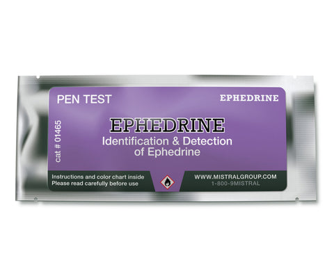 The Ephedrine Identification Pen Test from Mistral is an individual ampoule-based, hand-held colorimetric drug detection and drug identification test for ephedrine.