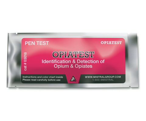 The Opiatest Identification PenTest, from Mistral Security, is an individual ampoule-based, hand-held colourimetric drug detection and drug identification test for opiates.