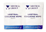 Cocaine swipes are a quick and easy way to quickly test for cocaine residue. Simply wipe the pad on the suspected surface. If there is presence of cocaine, the swabs will change colour immediately.