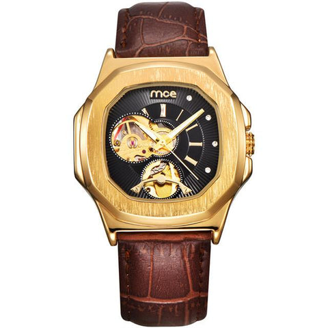 THE VIKING HEART - Men's Classy Automatic Hexagonal Face Open-Heart Leather Band Watch