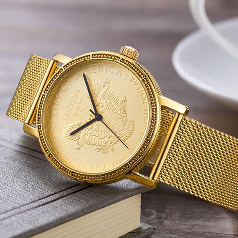 """AMERICAN HERO"" Quartz Metal Mesh Band Fashion Watch"