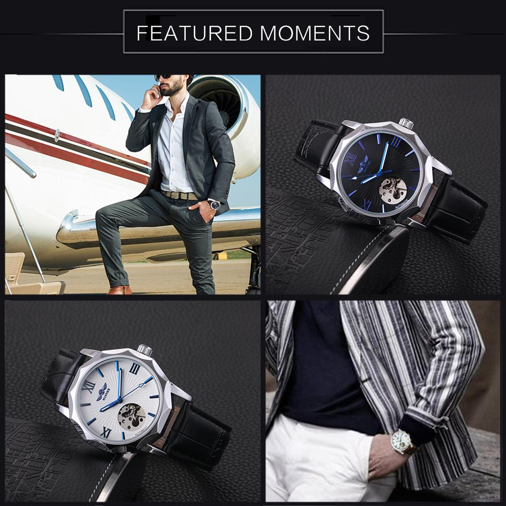 """BLUE ICE"" Geometry Design Men's Luxury Automatic Leather Band Watch"