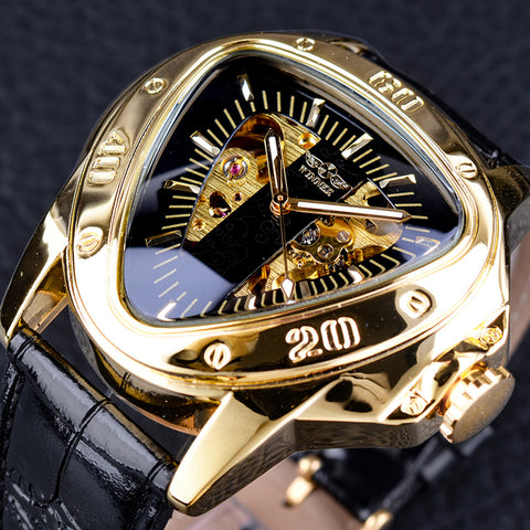 """GRAN PRIX"" Triangle Shaped Skeleton Men's Automatic Luxury Stainless Steel Wristwatch"