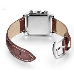 """HUNTSMAN""  Men's Square Luminous Quartz Leather Band Watch"