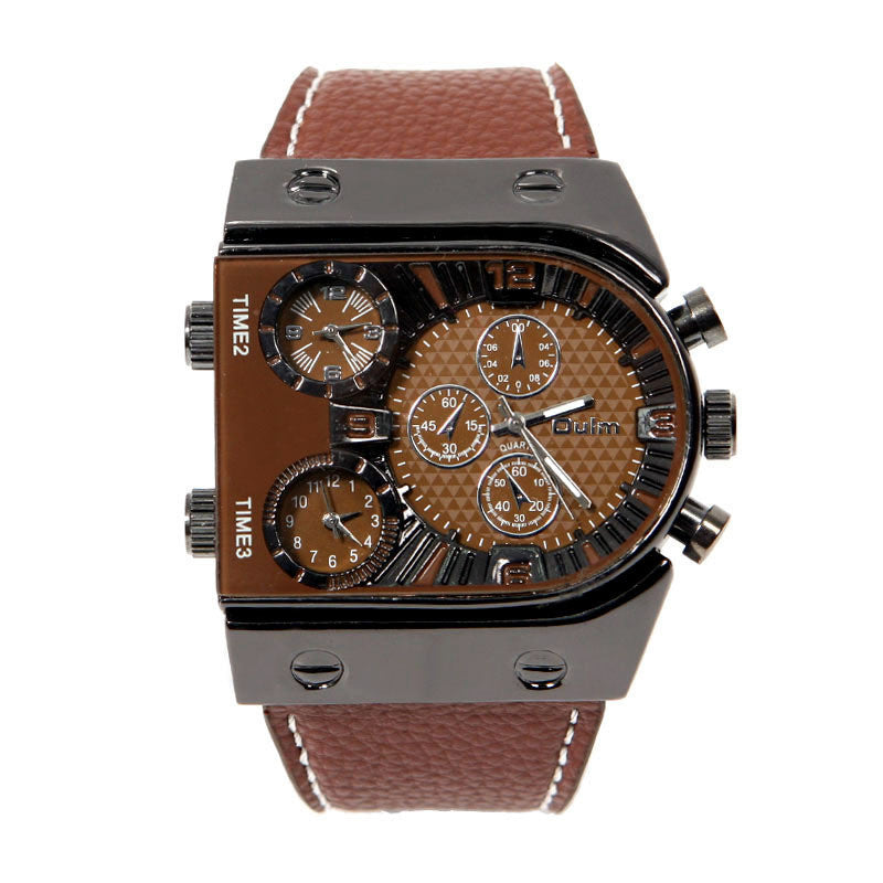Men's Big Dial Quartz 3 Time Zone Leather Strap Watch