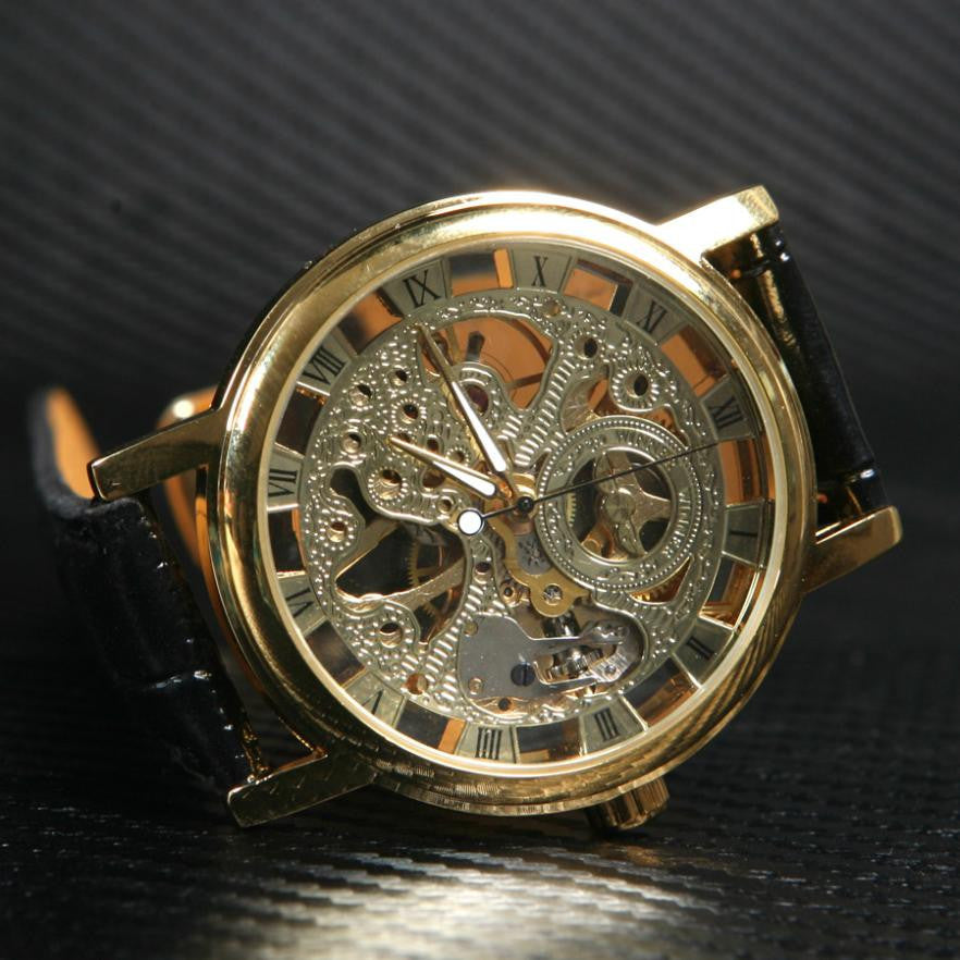 Men's Skeleton Exposed Dial Mechanical Watch
