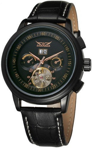 """MUSTANG SKYRACER""  Men's Leather Band Self-Wind Wristwatch"