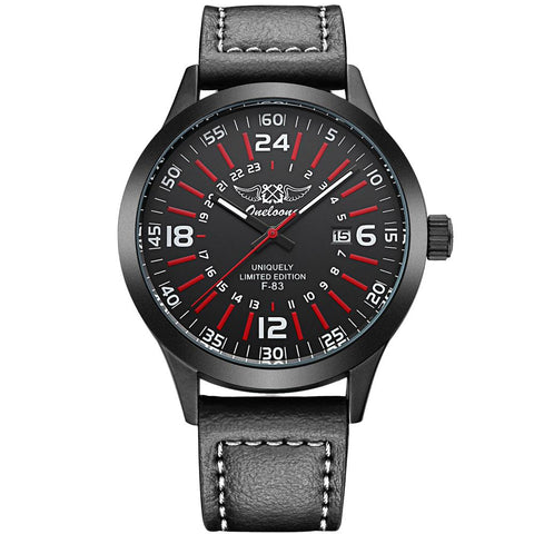 "Pilot Watch - ""THE COCKPIT"" Men's Quartz Leather Band Calendar Watch"