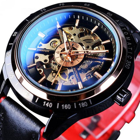 """RAZOR'S EDGE"" Men's Automatic Sport Transparent Two Color Band Watch"