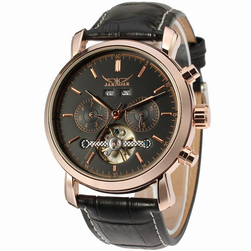 """THE BLACK ROSE"" Men's Classic Automatic Full Calendar Dress Watch"