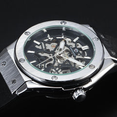 """THE BURIED TREASURE""  Skeleton Automatic Watch With Rubber Band"