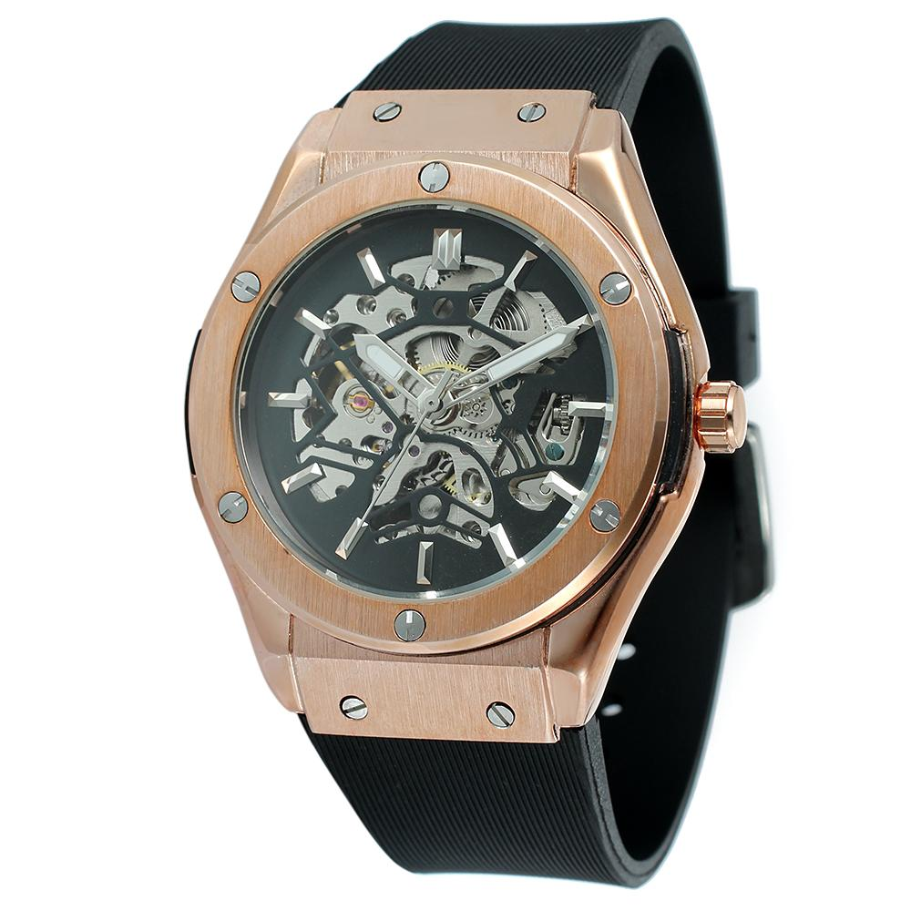 """THE BURIED TREASURE""  Skeleton Custom Automatic Watch With Rubber Band"