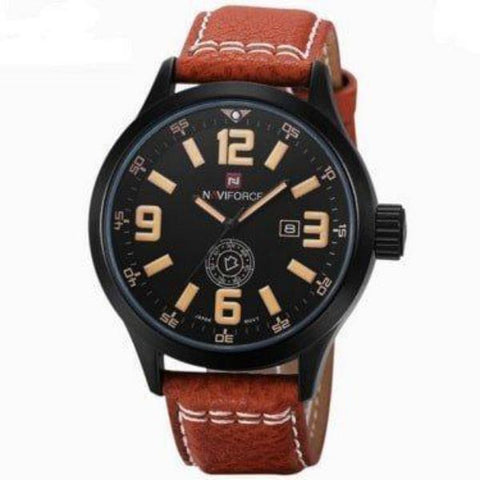 """THE MISSION"" Men's Premium Military Sports Genuine Leather Band Watch"